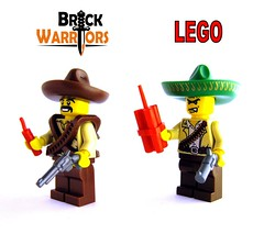 Bandito Comparison (Thrashq4g) Tags: lego western accessories sombrero minifigs dynamite custom comparison wildwest weapons bandolier bandito sixshooter brickwarriors