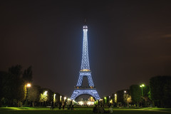 Blue Eiffel Tower (TheFella) Tags: longexposure blue slr tower night digital photoshop canon french eos lights photo high iron dynamic eiffeltower landmark fair eiffel icon sparkle explore nighttime photograph latoureiffel champdemars processing worlds slowshutter 5d dslr range sparkling hdr highdynamicrange lattice worldsfair markii gustave litup eiffeltour postprocessing gustaveeiffel photomatix explored theironlady ladamedefer thefella 5dmarkii conormacneill puddlediron thefellaphotography