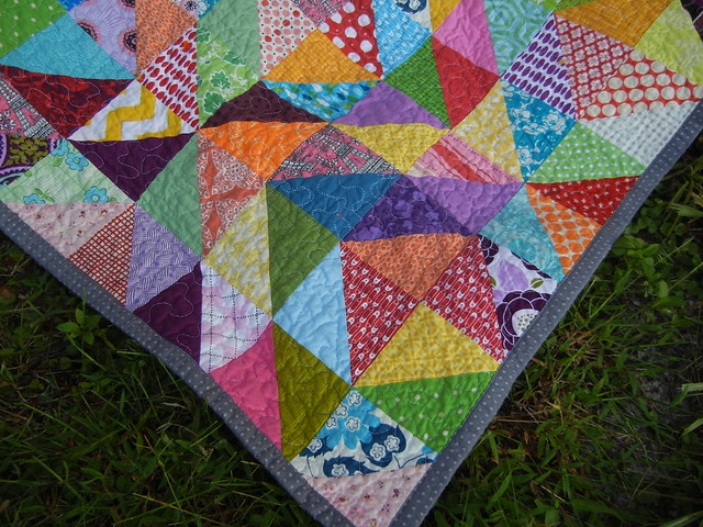 Finished corner of warm/cool quilt