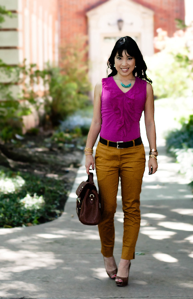 the limited cutout trim fuchsia top, h&m mustard trouser pants, eshakti turquoise stones necklace, aldo whitsey cognac peep-toe pumps, mk5430, forever 21 leatherette wrap, forever 21 yellow woven chain bracelet, tjmaxx vieta lucille buckle satchel bag, gap brown leather belt