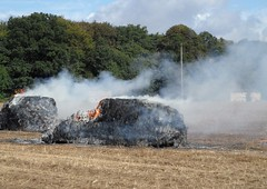 fire in the fields (algo) Tags: trees england woodland fire woods smoke harvest fields algo