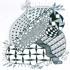 Weekly challenge #34 (louvebleue) Tags: blackandwhite pen ink drawing doodle draw doodling encre doodleart zentangle zendoodle