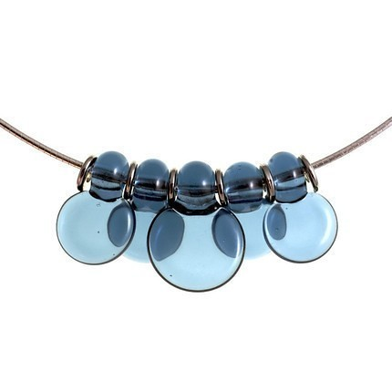 Steel Blue Droplet Discs 5 lampwork necklace