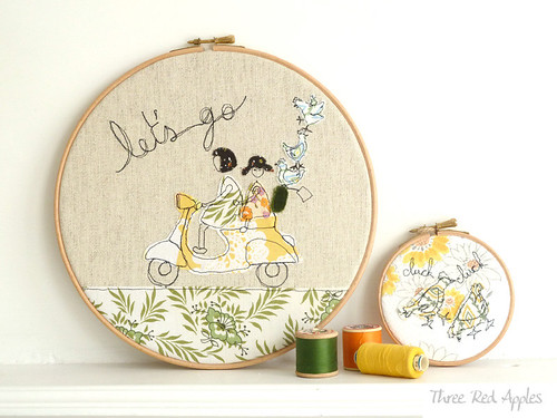 Let's go! embroidery hoop art by Three Red Apples