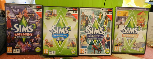 Two EP's & two stuff packs for The Sims 3