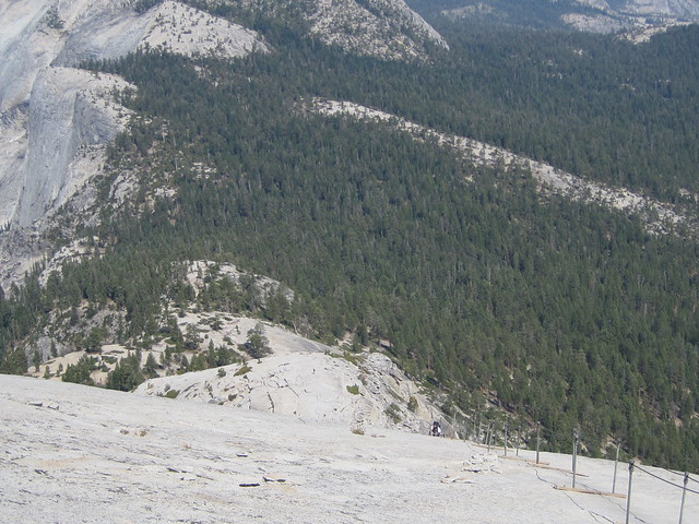 My sister Pam climbing the Half Dome in Yosemite, CA