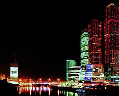 Moscow City (Red) (Stray Croc) Tags: city summer building nature weather night river season russia moscow structures slowshutter technique hdr clearsky timeofday