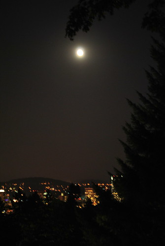 Autumn Full Moon Over Portland