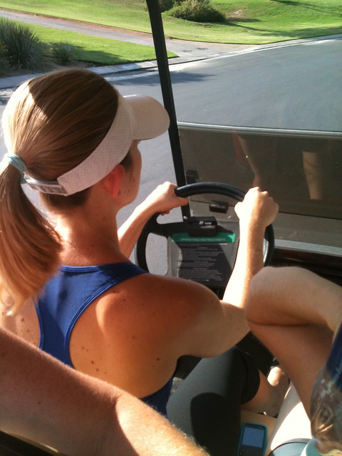 amanda in the golf cart