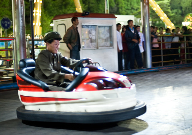 Soldier bumper cars in Pyongyang -- photo by Sam Gellman