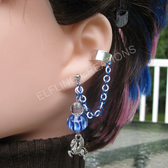 Blue and White Pegasus Connecting Cartilage Chain Ear Cuff