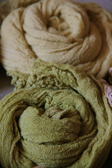 my own, naturally dyed cotton gauze scarves