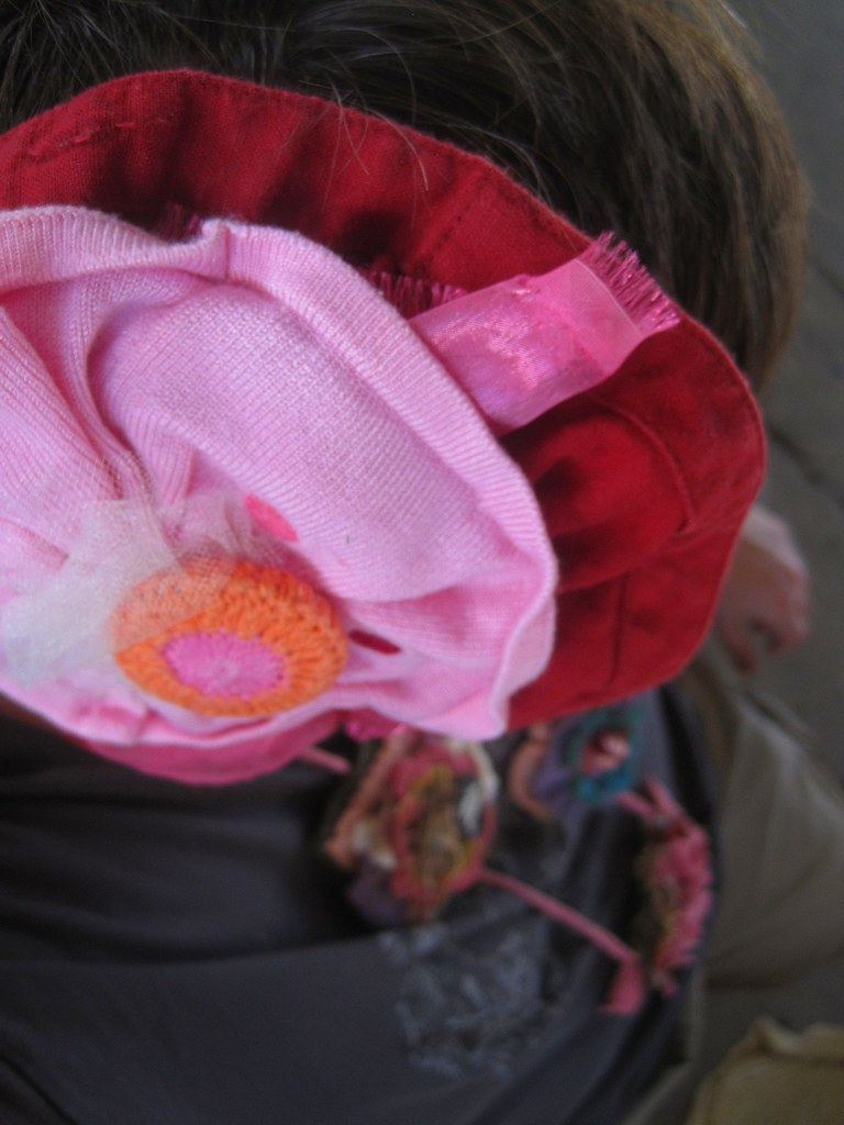 Sustainable Fabric Flowers Hair and Brooch and Found Object Necklace