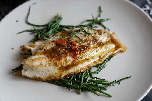 Pan fried lemon sole with samphire and parsley butter ...