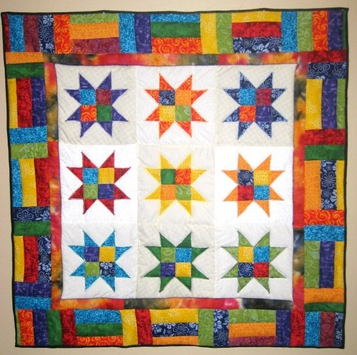"Handcrafted Star Quilt Wall Hanging ""A Splash of Color"""