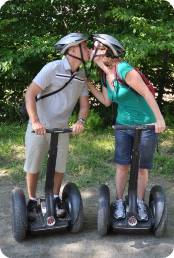 Smooching on a Segway is a lot harder than it looks