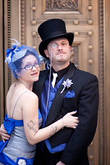 Jenny and Damon wedding April 14, 2011 (Nightdust) Tags: flowers blue 1920s wedding silly birdcage hat tattoo oregon vintage silver paper portland groom glasses bride veil dress top treasury tie bank tophat vault bouquet portlandoregon oldfashioned monacle gentlemen paperflower tailcoat silverdress vintagewedding silverweddingdress 1920swedding birdcageveil papersheetmusicflowerbouquet monaclegroom