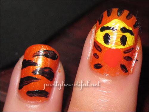 Tiger stripes with Tigger nail art