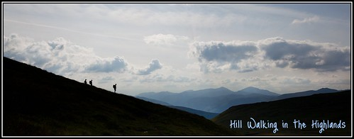 Hill walkers on the ridge Bealach an Dubh Choirein