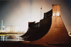Skateboard ramp (martinkozak) Tags: longexposure light beach bulb night 35mm denmark ae1 nat buttcrack canonae1 danmark fredericia kodakporta160nc canoscan8800f