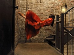 lighting her way (dlemieux) Tags: nyc red model dlemieux levitation august stairwell spooky workshop levitate 2011 oliviaclemens brookeshaden