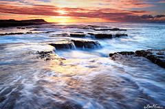 On the 3rd Day (Ben Cue) Tags: water sunrise newcastle flow coast waterfall interesting movement rocks tide wave australia explore nsw newsouthwales merewether rockformation goldenlight rockshelf