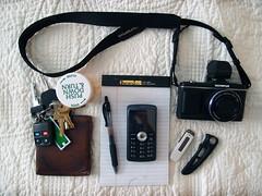 Monday (daveelmore) Tags: copyright pen keys bed quilt wallet cellphone things drugs allrightsreserved notepad pocketknife usbthumbdrive olympusxz1 mondaysstuff ep217mmmzuiko ©daveelmore