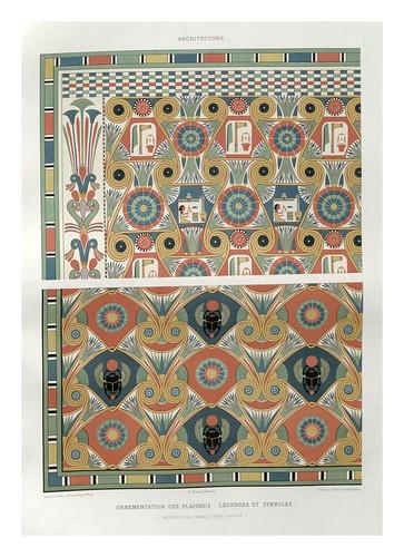 017-Ornamentacion de techos-legendas y simbolos- Tebas dinastia XVIII-Histoire de l'art égyptien 1878- Achille Constant Théodore Émile