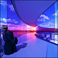Shoot (Maerten Prins) Tags: blue shadow panorama orange color colour glass museum clouds denmark rainbow photographer view unknown aros curve eliasson olafur arhus winnerflickrsweeklythemecontest shootershoot