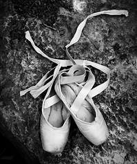 Used in Full (amandanpowell) Tags: blackandwhite ballet texture nature shoe dance used worn ribbon pointeshoes naturesballet