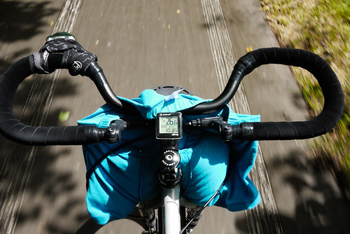 Drying wet underwear on bicycle (Surly Karate Monkey) handlebars (on the Shikotsu-Chitose cycling road, Hokkaido, Japan)