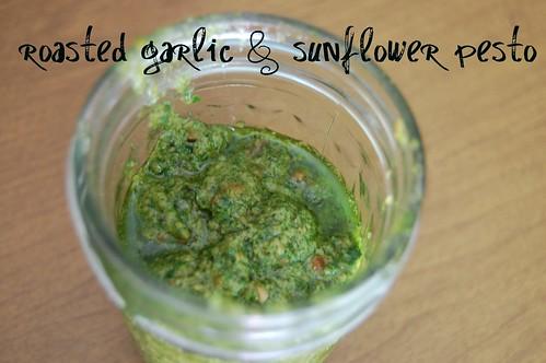 roasted garlic and sunflower pesto