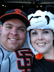 Mr. & Mrs. Harlan (NiknackPhotographs) Tags: sanfrancisco david cute smile fun couple baseball blueeyes husbandandwife lovers hazeleyes harlan sanfranciscogiants pandahat nikole sandiegopadres baseballplayers attpark probaseball proathletes giantsfans