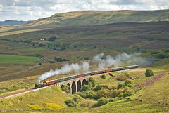 The Cathedrals Express passing Lunds. (DWH284) Tags: northyorkshire yorkshiredales wensleydale lunds olivercromwell settlecarlislerailway uksteam cathedralsexpress britanniaclass