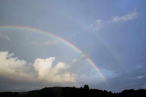 奈良県内で『二重の虹』が見えました