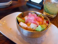 IMG_2930 (KayOne73) Tags: santa food mall shopping menu happy restaurant la place mexican monica hour sandia cerviche