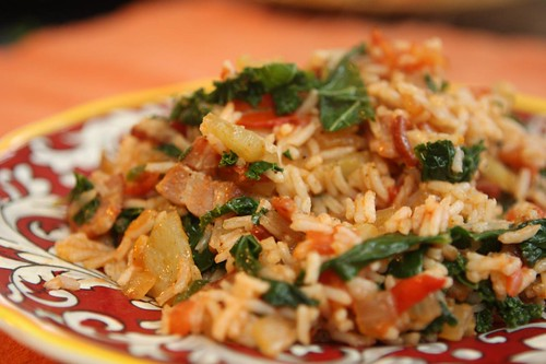 Bacon Tomato Rice with Kale, Lilac Peppers, and Serrano Chilies