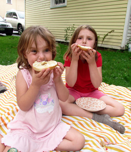 Kids Eating Bagels