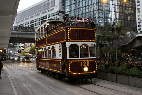 Open top Hong Kong tram #128 in Admiralty