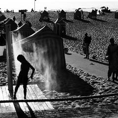 The last days of summer (Che-burashka) Tags: travel summer vacation beach portugal silhouette square shower sand holidays warm europe dusk sandy silhouettes porto late beachhuts gettyiberiasummer