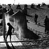 The last days of summer (Che-burashka) Tags: travel summer vacation beach portugal silhouette square shower sand holidays warm europe dusk sandy silhouettes porto late beachhuts gettyiberiasummer