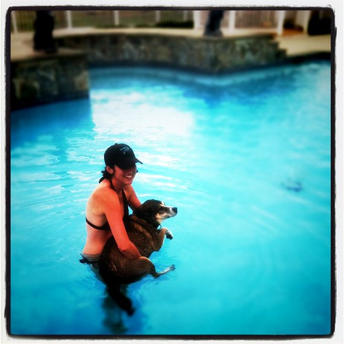 Amanda getting Frank to swim.
