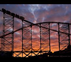 Blackpool - Coaster Sunset (Lee Carus) Tags: light sunset sea sky irish cloud reflection point puddle one pier big sand shoot fairground sony dramatic august fair explore scream mirrorball blackpool lightroom explored