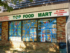 Top Food Mart (Franthropologist) Tags: blue windows newyork storm longisland tape damage irene foodmart elmont valleystream hurricaneirene topfoodmart