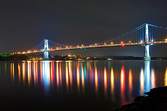 Beautiful colorful World (10iggie) Tags: longexposure bridge newyork night reflections lights colorful bright upstate poughkeepsie citylights hudsonriver canon2470mmf28lusm 1dsmarkiii