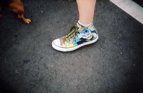 Batman sneaker + Grace's paw