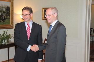 Pääministeri Jyrki Katainen ja Eurooppa-neuvoston puheenjohtaja Herman Van Rompuy - Prime Minister Jyrki Katainen and President of the European Council Herman Van Rompuy