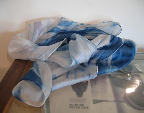 Woad dyed silk scarf