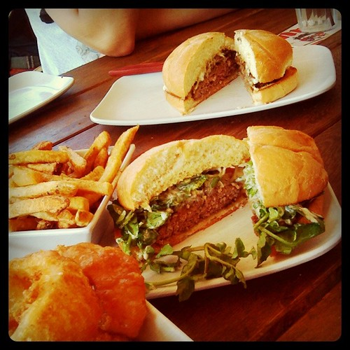 Uneeda Burger has a beautiful, spacious patio. Their burger selection is impressive.  I enjoyed the mushroom burger with truffle salt the best, but the caramelized onion + blue cheese + watercress burger was a close second.  I just wish their fries were crispier. in Seattle, WA by Melody Gourmet Fury