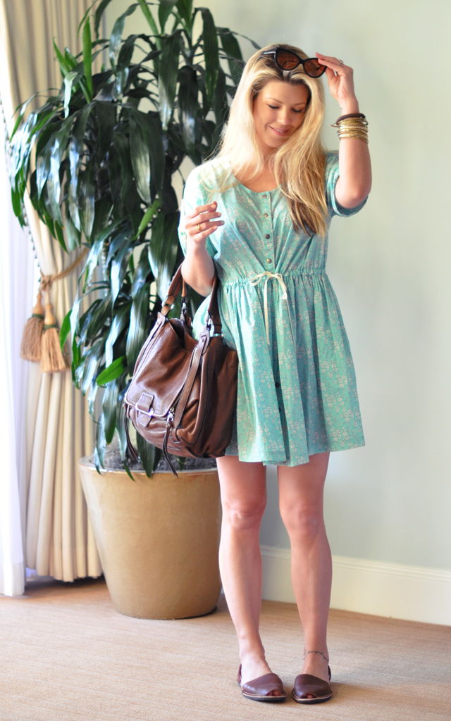 Sea NY cotton day dress with Kooba Jonnie bag and sandals from Spain